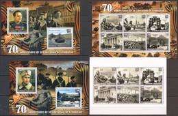 L797 2014 MADAGASIKARA WAR WWII 70TH ANNIVERSARY LENINGRAD PRIVATE ISSUE 2BL+2KB MNH - 2. Weltkrieg