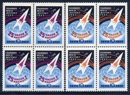 SOVIET UNION 1962 Vostok 2 Space Flight Blocks Of 4  MNH / **  Michel 2632-33A - 1923-1991 USSR