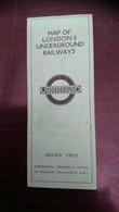 Mpa Of London's Underground Railways - Dépliants Touristiques