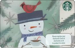 Thailand Starbucks Card  Snowman - 2017 - 6141 - Gift Cards
