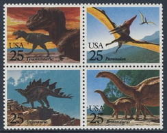 USA 1989 Mi 2051 /4 ** Tyrannosaurus + Pteranodon + Stegosaurus + Brontosuarus - Prehistoric Animals / Saurier - Prehistorics