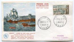 RC 9624 FRANCE FDC ENVELOPPE 1er JOUR BREST PORT SOUS LOUIS XIV 1957 - FDC