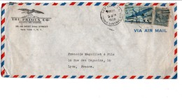 USA AFFRANCHISSEMENT COMPOSE SUR LETTRE AVION POUR LA FRANCE 1952 - Vereinigte Staaten