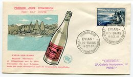RC 9629 FRANCE FDC ENVELOPPE 1er JOUR EVIAN LES BAINS EAUX MINERALES 1957 - 1950-1959