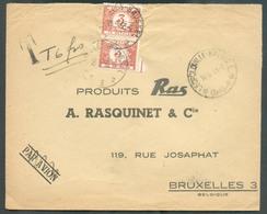 Lettre Par Avion Envoyée Du CONGO BELGE (sc LEOPOLDVILLE-KALINA) Non Affranchie Le 14-4-1953 Vers Schaerbeek Et Taxée à - Postage Due