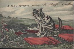 CPA Patriotique Guerre 14 Le Chien Patriote Chien Croix Rouge Fait Ses Excréments Sur Drapeau Allemand Rare CAD 1915 FM - Patriotiques