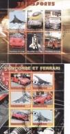 Congo, Benin, Concorde, Ferrari, Train, Zug, Ship, Souvenir Sheets, Fantasy Labels - Vignettes De Fantaisie