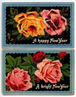Great Britain 2 Vintage Postcards New Years Greetings & Roses - New Year