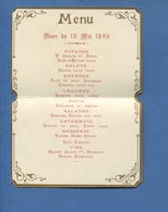 Très Joli Menu Chromo Baptême Républicain 1896 Cartonné Contour Doré Madame Perier - Chromos