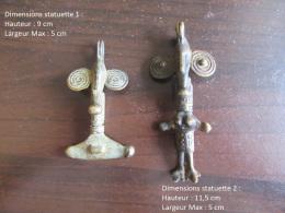 Baisse De Prix ! Afrique De L'Ouest - 2 Amulettes Anthropomorphes En Bronze - Millieu Du 20e Siècle - Art Africain