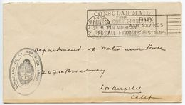 United States 1943 Official Consular Cover, Consulado De Argentina, Los Angeles CA - Brieven En Documenten