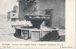 Viterbo - Fontana Nella Loggetta Papale E Campanile Longobardo Sec. IX - Viterbo