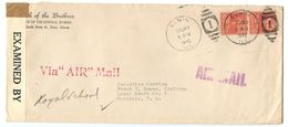 United States 1942 Censor / Airmail Cover Elgin IL To Honolulu HI W/ Prexies, Scott 815 Pair - Brieven En Documenten