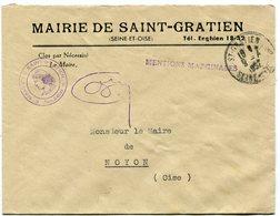 SEINE  Et OISE De SAINT GRATIEN    Env. à En Tête De La Mairie Avec Dateur A6  Du 09/04/1952 - Marcophilie (Lettres)
