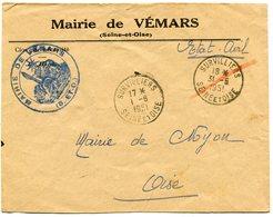 SEINE  Et OISE De VEMARS  Env. à En Tête De La Mairie Avec Dateur A6 De SURVILLIERS   Du 01/06/1951 - Marcophilie (Lettres)