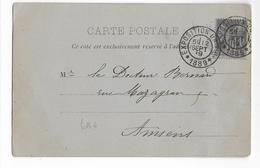 1899 - SAGE - CARTE De PARIS EXPOSITION UNIVERSELLE (RARE) => AMIENS - Marcophilie (Lettres)