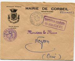 SEINE  Et OISE De CORBEIL ESSONNES Env. à En Tête De La Mairie Avec Dateur A6   Du 01/12/1952 - 1921-1960: Période Moderne