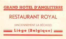 "D8022 "" GRAND HOTEL D ANGLETERRE - RESTAURANT ROYAL - LIEGE  BELGIQUE"" ETICHETTA ORIGINALE - ORIGINAL LABEL - Adesivi Di Alberghi"