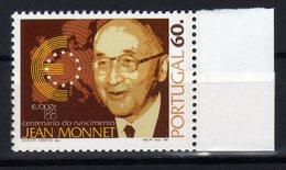 "Portugal 1988 100. Geburtstag Von Jean Monnet ""père"" De L'Europe MNH - Idee Europee"