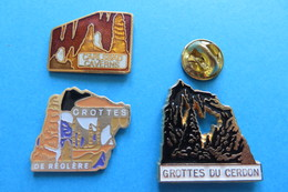 Lot De 3 Pin's,Grottes,Caverns,Höhlen,Cerdon,Reglere,Carlsbad - Cities