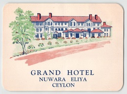 "D8028 "" GRAND HOTEL  -  NUWARA ELIYA CEYLON - SRILANKA"" ETICHETTA ORIGINALE - ORIGINAL LABE. - Hotel Labels"