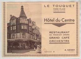 Le Touquet Hôtel Du Centre Sagot   1933 - Publicités