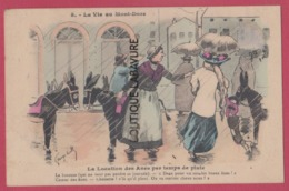 63 - LA VIE AU MONT DORE--Illustrateur Georges CREEL---La Location Des Anes Par Temps De Pluie..... - Illustrateurs & Photographes