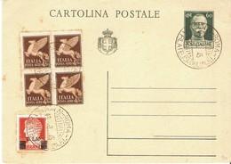 ITALIA 1945 - IV MOSTRA FILATELICA - CARTOLINA POSTALE C.60 - USATO. - Borse E Saloni Del Collezionismo