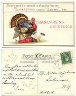 United States 1915 Postcard Thanksgiving Greetings, Horn. & Salam. R.P.O. Pmk - Thanksgiving