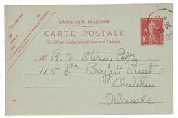 1907 - OBLITÉRATION ANGLAISE CAD LONDON MB (BOITE MOBILE BOX) Sur CP ENTIER POSTAL TYPE SEMEUSE CAMÉE 10c - Marcophilie (Lettres)