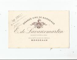 CARTE DE VISTE GRANDS VINS DE BORDEAUX E DE LAVAUXMARTIN 1949 - Visiting Cards