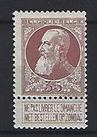 BELGIE - BELGIQUE 77  -  35 Cent. Bruinrood -  Met Plakker - Avec Charniere - 1905 Grosse Barbe