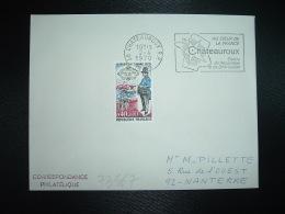 LETTRE TP FACTEUR DE VILLE EN 1830 JOURNEE DU TIMBRE 0,40+0,10 OBL.2-4 1970 36 CHATEAUROUX RP INDRE - France