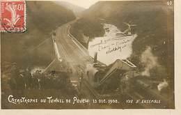 D-18-773 : CATASTROPHE FERROVIARE. DERAILLEMENT. TUNNEL DU POUCH ENTRE ALLASSAC ET ESTIVAUX 1908 - Autres Communes