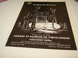 ANCIENNE PUBLICITE  ACIER DES FORGE ET ACIERIES DE VOELKLINGEN 1951 - Autres