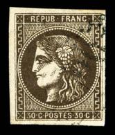 N°47, 30c Brun Foncé, Frais Et TB (signé Brun)  Qualité: O  Cote: 350 Euros - 1870 Ausgabe Bordeaux