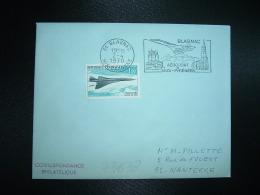 LETTRE TP CONCORDE 1,00 OBL.MEC.2-4 1970 31 BLANGNAC HTE GARONNE AEROPORT De MIDI-PYRENEES - Marcophilie (Lettres)
