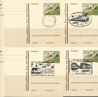 Österreich-  Ganzsachen  4 Belege Mit  Verschiedenen Stempeln - Eisenbahnen