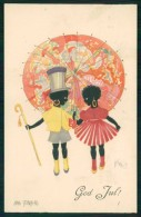 Artist Signed Aina Stenberg Sverige Deco Christmas Black Child Cartolina TC6370 - Non Classificati