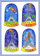 Carte D'Art - Illustration (Pascale Godard) - Les Quatre Saisons De Paris // La Tour Eiffel - Tour Eiffel