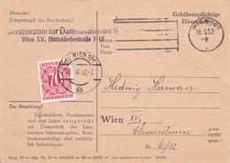 ÖSTERREICH NACHPORTO 1952 - 70 Gro Nachporto Auf Pk BERUFSCHULE DAMENSCHNEIDER, Gel.v. Wien XV > Wien XV - Segnatasse
