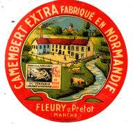 S 72 - ETIQUETTE DE FROMAGE-  CAMEMBERT  FLEURY A PRETOT  45%  (MANCHE) - Fromage