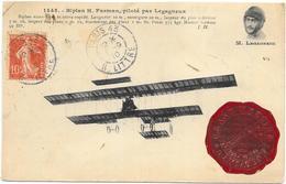 BIPLAN H. FARMAN AVEC CACHET CIRCUIT DE L'EST AOUT 1910 - Aviatori