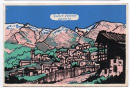 SAINT VERAN --1962 - Fantaisie -Vue Générale ( Feutrine ...attention Couleurs Modifiées Par Les Scans ) - Autres Communes