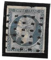 FRANCE . YT N° 15 . 25 C Bleu . Oblit Gros Points . - 1853-1860 Napoléon III