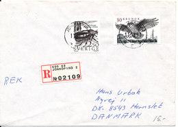 Sweden Registered Cover With High Valued BIRD Stamp Sent To Denmark - Sweden