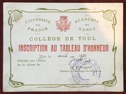 Collège De Toul. Inscription Au Tableau D'honneur Du Chansonnier Pierre Jacob (classe De 10e, 1910). - Diplômes & Bulletins Scolaires