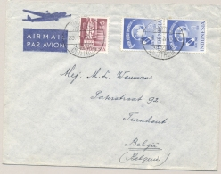 Nederlands Indië - 1949 - 45 Sen Type Smelt En 2x 25 Sen UPU Op LP-cover Van Batavia Naar Turnhout / België - Nederlands-Indië