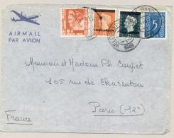 Nederlands Indië - 1949 - 4 Colour Mixed Franking Van Veldpost Bandoeng Naar Paris / France - Nederlands-Indië