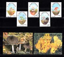 Sao Tome En Principe 1993 Mi Nr 1392 - 1396 + Blok 296 + 297: Paddenstoelen, Mushroom - Sao Tome En Principe